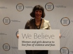 "At the AJWS Policy Summit, DC ""We Believe: Women and girls deserve to live free of violence and fear."""