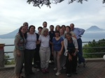 Group picture above Lake Atitlan, volcanoes in background