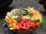Cut fruit for sale on the street in Antigua