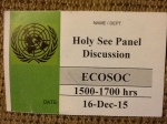 My ticket for entrance to the UN event