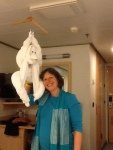 "Our cabin steward, Joni, creates a different ""towel"" animal each night. After Seder, we came back and were surprised by the monkey hanging from our ceiling!"