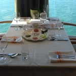 Seder table - note the Mediterranean Sea just outside the window. I was glad to be in a boat and not crossing the Sea by foot, as the Israelites did!