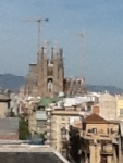 Basilica of Sagrada Familia from afar. Gaudi spent over 40 years on this project, still unfinished since his death in 1926.