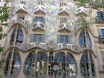 The outside of Casa Batllo, another of Gaudi's fantastical structures.