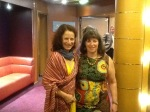 Julie and me in our gala garb for dinner, after which we danced and danced. I bought the dress for 6 euros (8 dollars)
