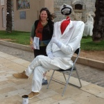 Street performer (head inside red shirt), Cartagena