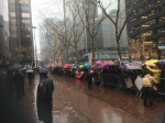 Hundreds rallied in the rain outside NYC offices of Senators Schumer and Gillibrand